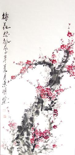 一次,他画了一幅梅花
