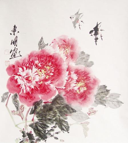 一次,他画了一幅梅花.